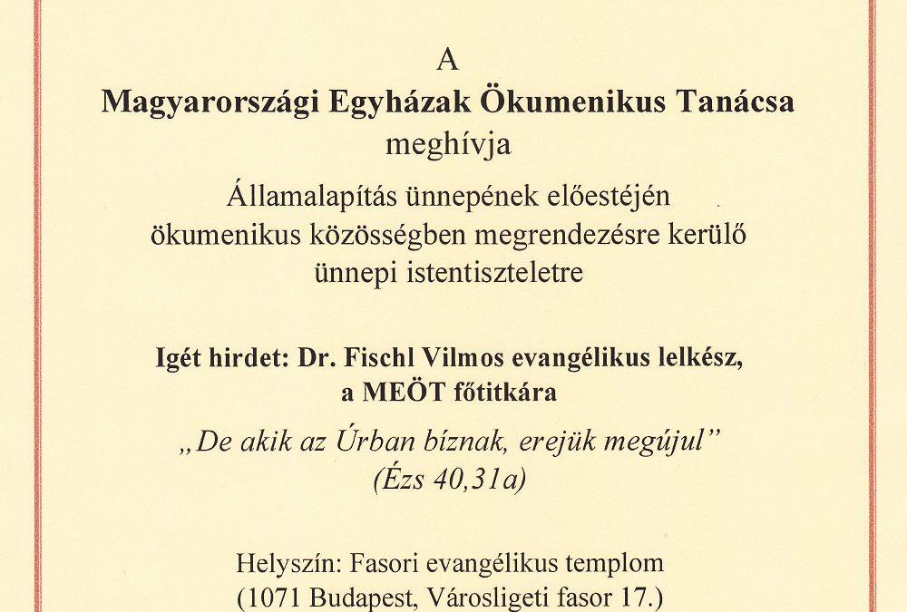 MEGHÍVÓ ÜNNEPI ISTENTISZTELETRE